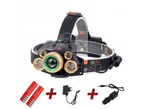 Zoom Head lamp 15000lm High power LED Head torch XML T6 4XPE Rechargeable headlight 5 led Set 2