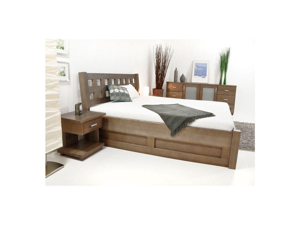 postel z masivu s úložným prostorem Kira  (Materiál Okoume, Rozměr 200x200cm)