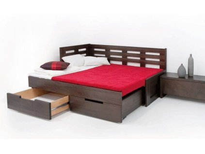 postel z masivu Kamila II kombi  (Materiál Okoume, Rozměr 200x100cm)