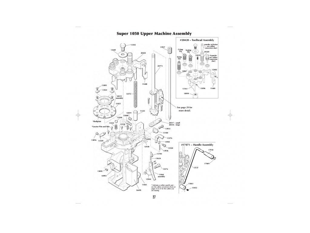 s1050uma super 1050 upper machine assy