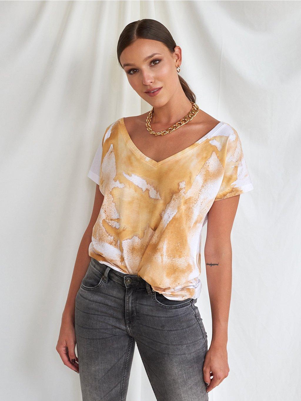 Volné triko z organické bavlny Tie-Dye + 1 barva.