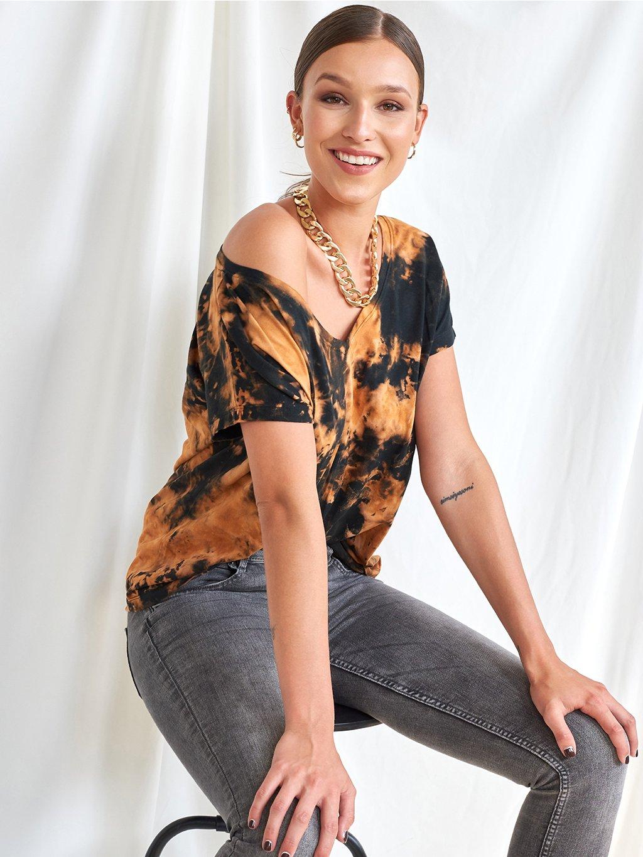 Volné triko z organické bavlny černo hnědá Tie-Dye.