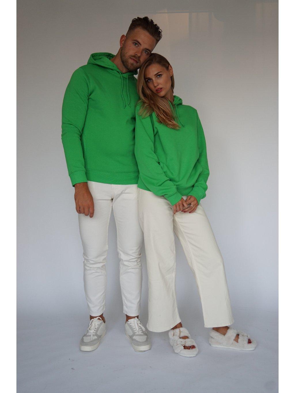 Zelená mikina z organické bavlny s kapucí včetně vašeho monogramu.