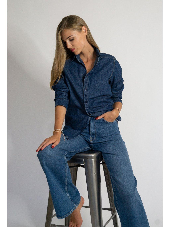 Džínová košile deep blue s vaším monogramem.