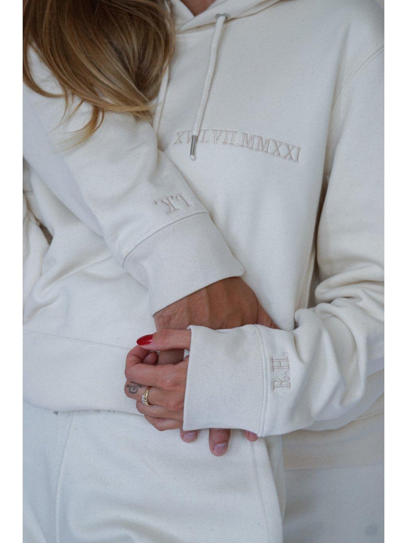 Couple edice XX.XX.XXXX / unisex mikina  s kapucí barvy Cream.