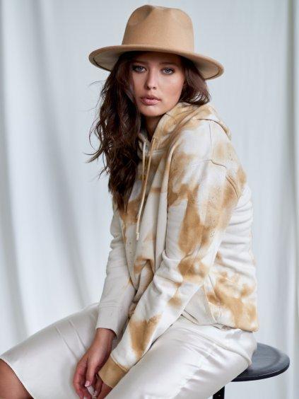 Mikina unisex z organické bavlny s kapucí béžovo smetanová Tie-Dye.
