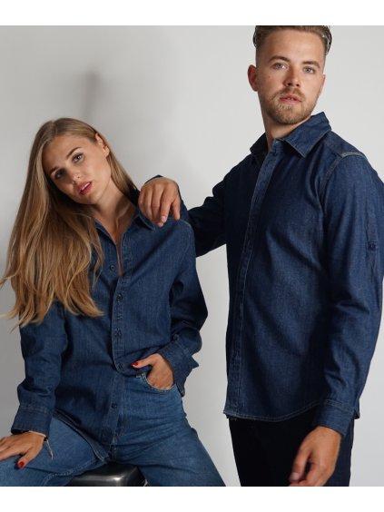 Džínová košile deep blue s vaším monogramem nebo sloganem.