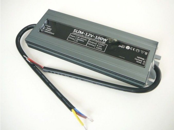 LED zdroj 12V 100W IP67 slim