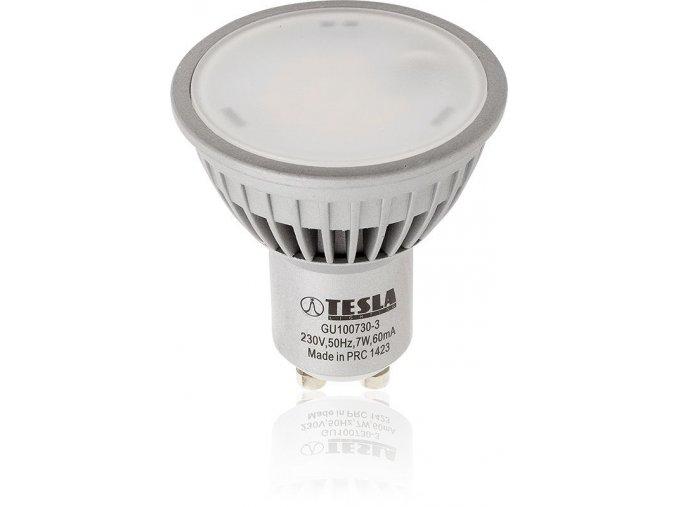 LED žárovka Tesla, GU10, 7W, 230V, 550 lm, 100°, teplá bílá