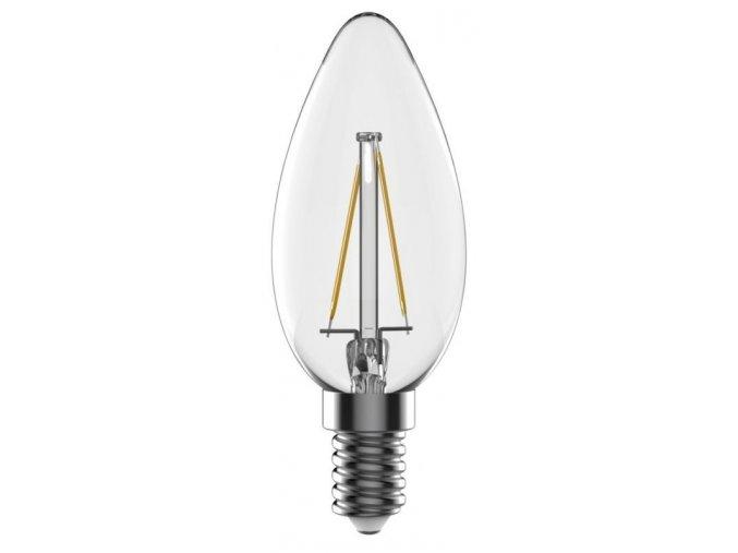LED žárovka Tesla, E14, Filament, Svíčka, 4W, 230V, 440lm, 360°, teplá bílá