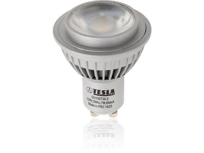 LED žárovka Tesla, GU10, 7W, 230V, 450 lm, 36°, teplá bílá