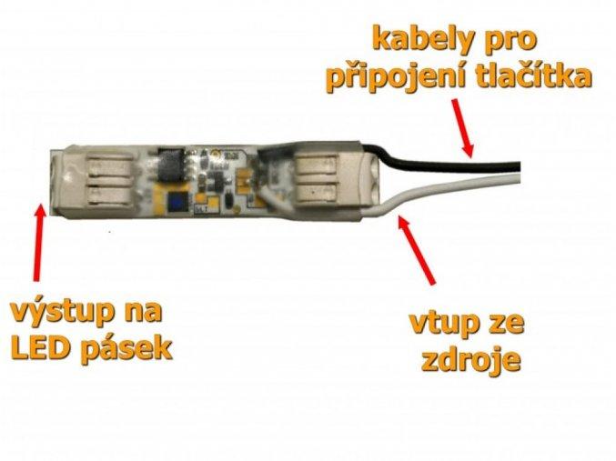 LED mikro stmívač k tlačítku, 9A