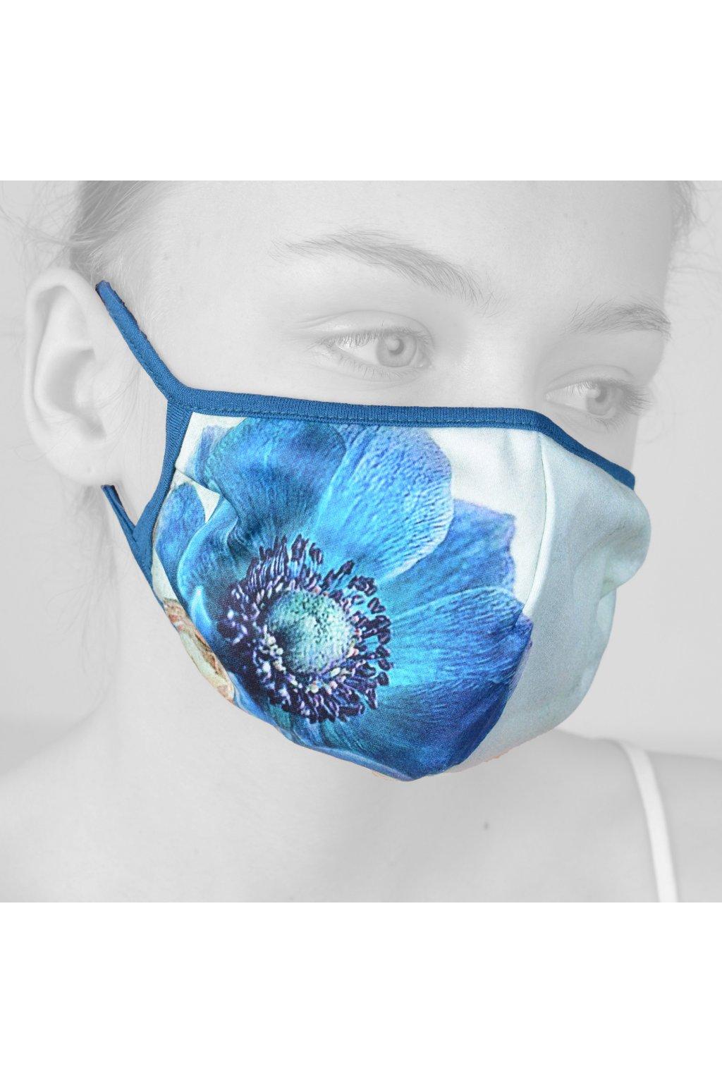 Rouška jednovrstvá Dámská - Modrý květ
