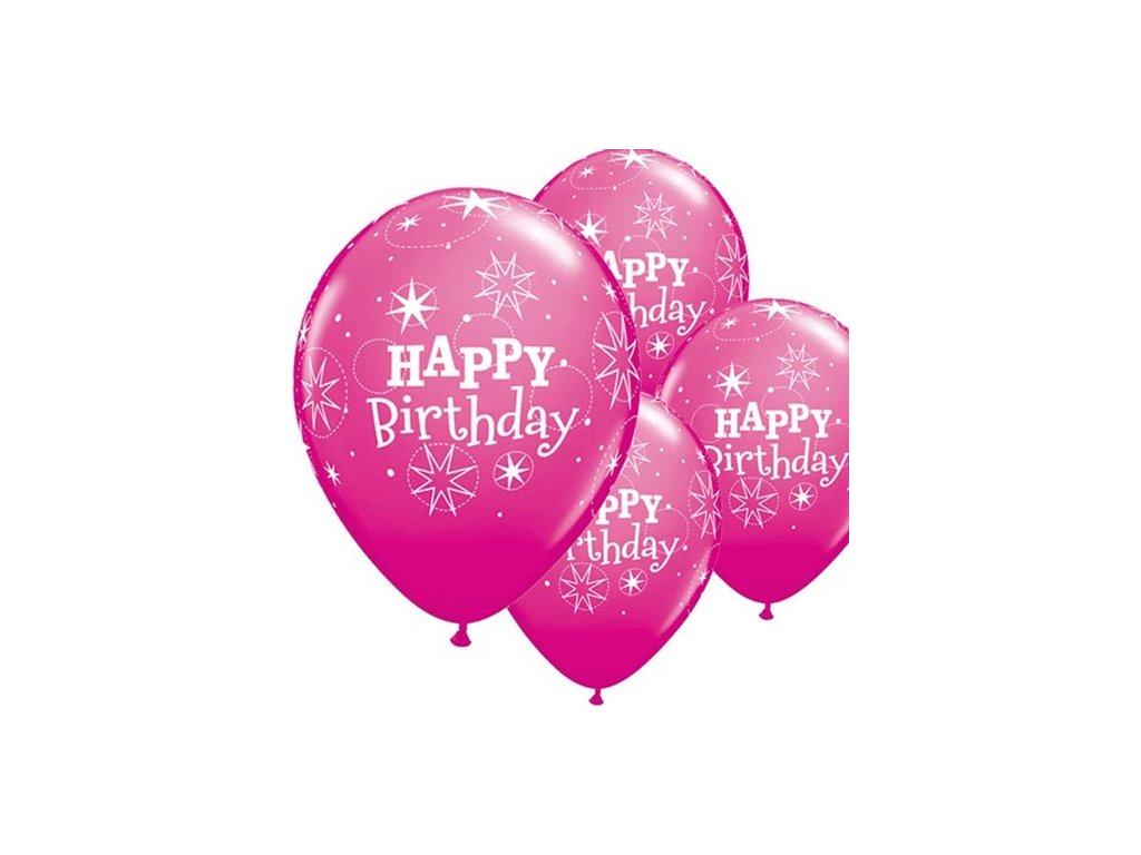 HB Latexové balónky Birthday Sparkle tm. růžové , průměr 28 cm 17937