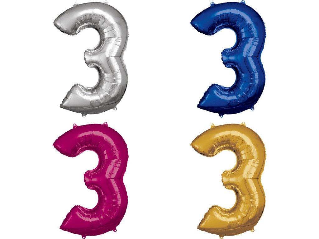 Fóliový balón číslo 3 - různé barvy