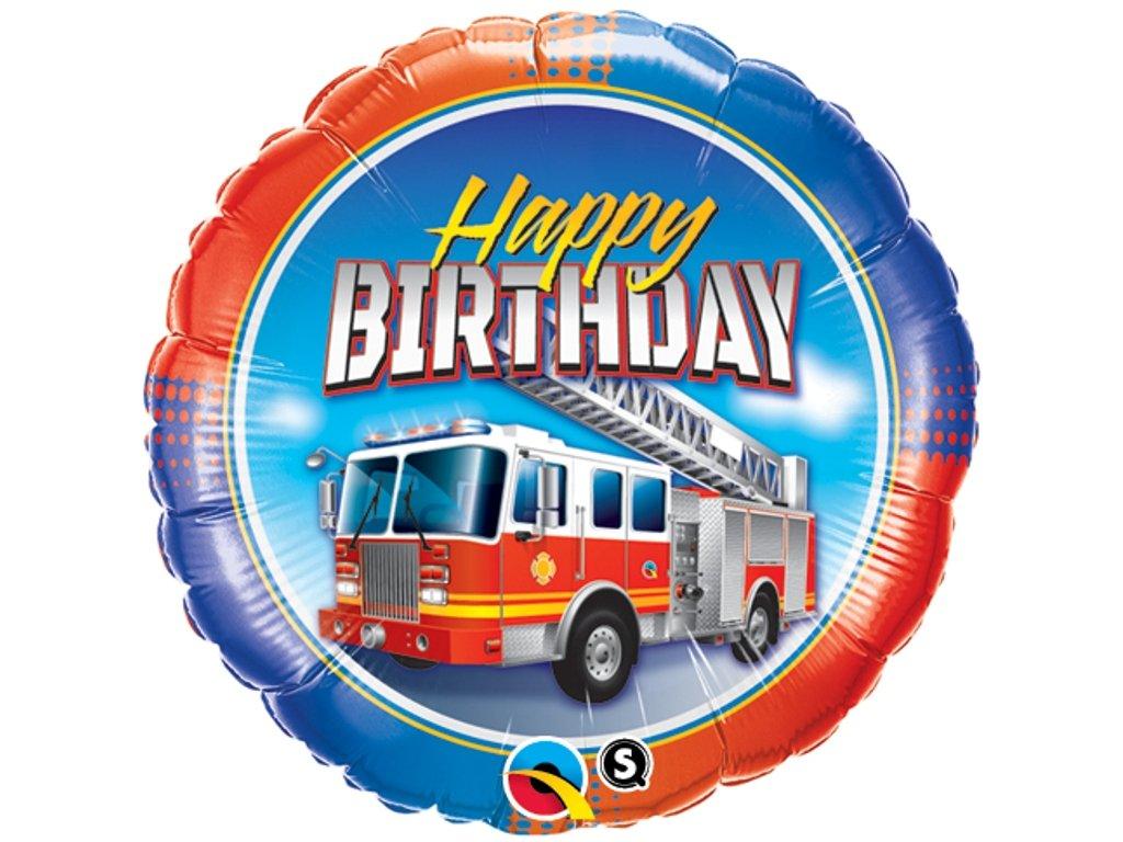 Fóliový balónek Fire Truck Happy Birthday