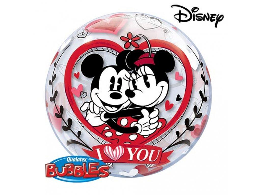 minnie mickey i love you bubble balloon 22 56cm qualatex 21892