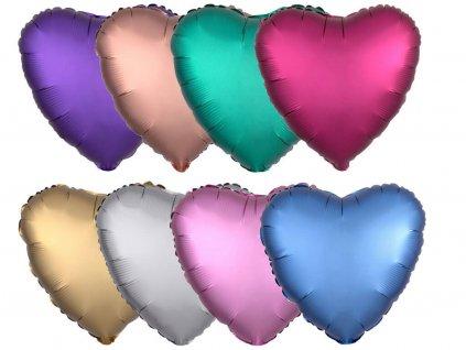 foliovy balonek satin luxe ruzovy srdce
