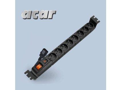"""ACAR 19"""" Rozvodný panel 8x230V 1.5U CZ 3m kabel IEC černý"""