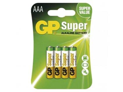 GP baterie Super Alkaline LR03 (AAA, mikrotužka), blistr 4 kusy