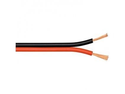 PremiumCord Nestíněná dvojlinka 2x0.50mm černá/červená 1m