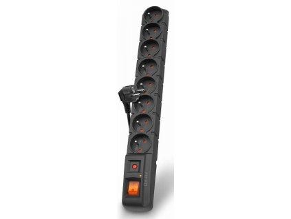 Acar S8 3m kabel, 8 zásuvek, přepěťová ochrana, černá