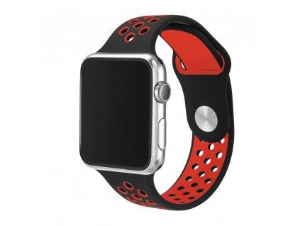 Tactical Double silikonový řemínek pro Apple Watch 4 44mm Black/Red - černo červený