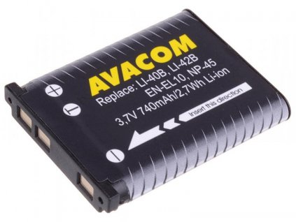 AVACOM Olympus Li-40B, Li-42B, Fujifilm NP-45, Nikon EN-EL10 Li-Ion 3.7V 740mAh 2.7Wh