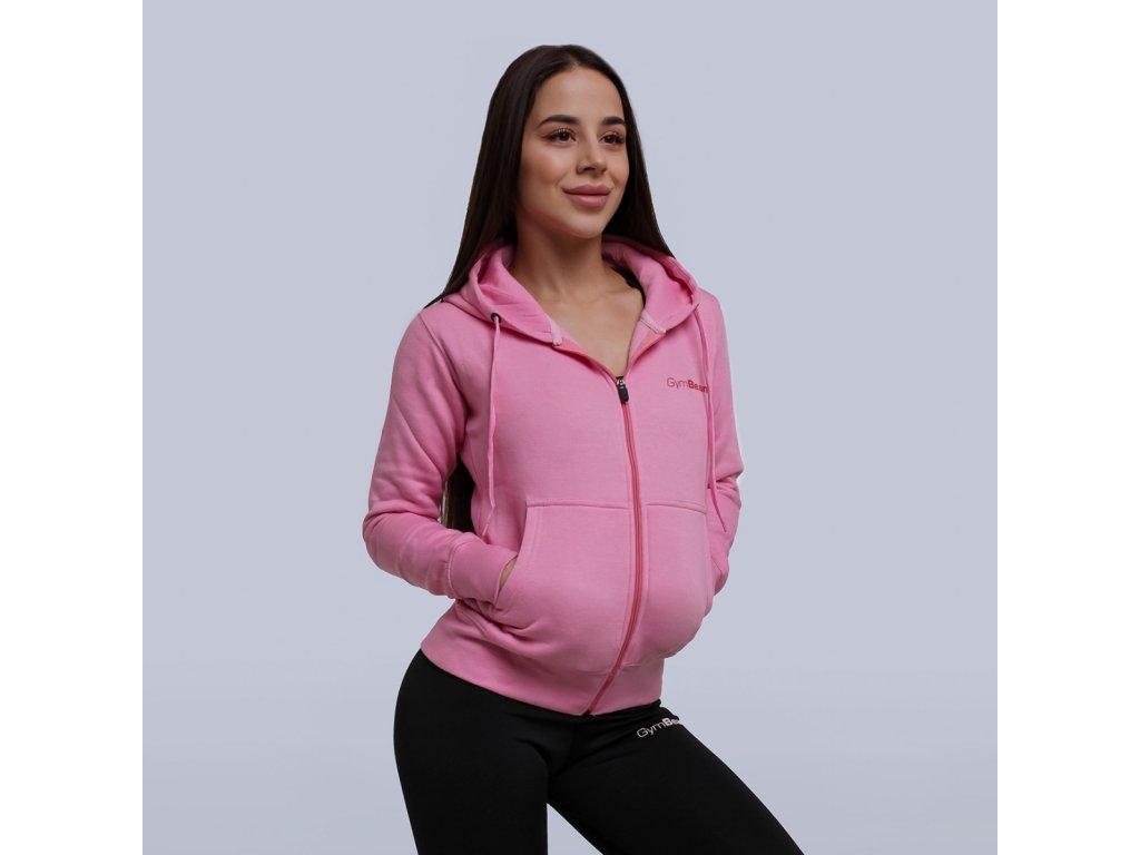 Dámská mikina Zipper Hoodie Baby Pink - GymBeam