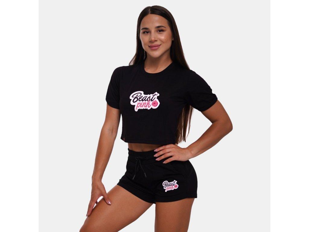 Dámské tričko CropTop Black - BeastPink