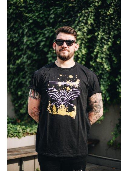 """Černé triko """"zlatá kaňka"""" pánské"""