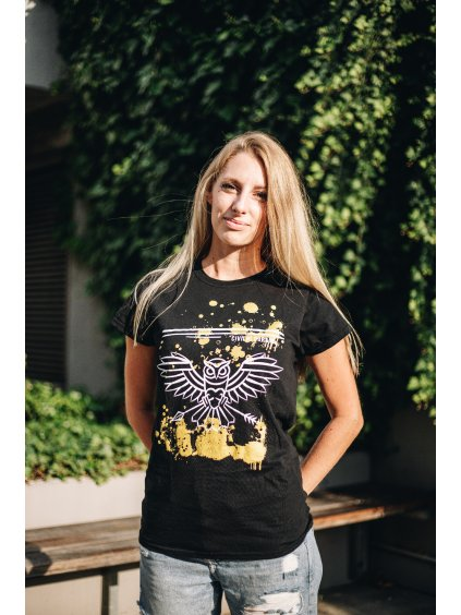 """Černé triko """"zlatá kaňka"""" dámské"""