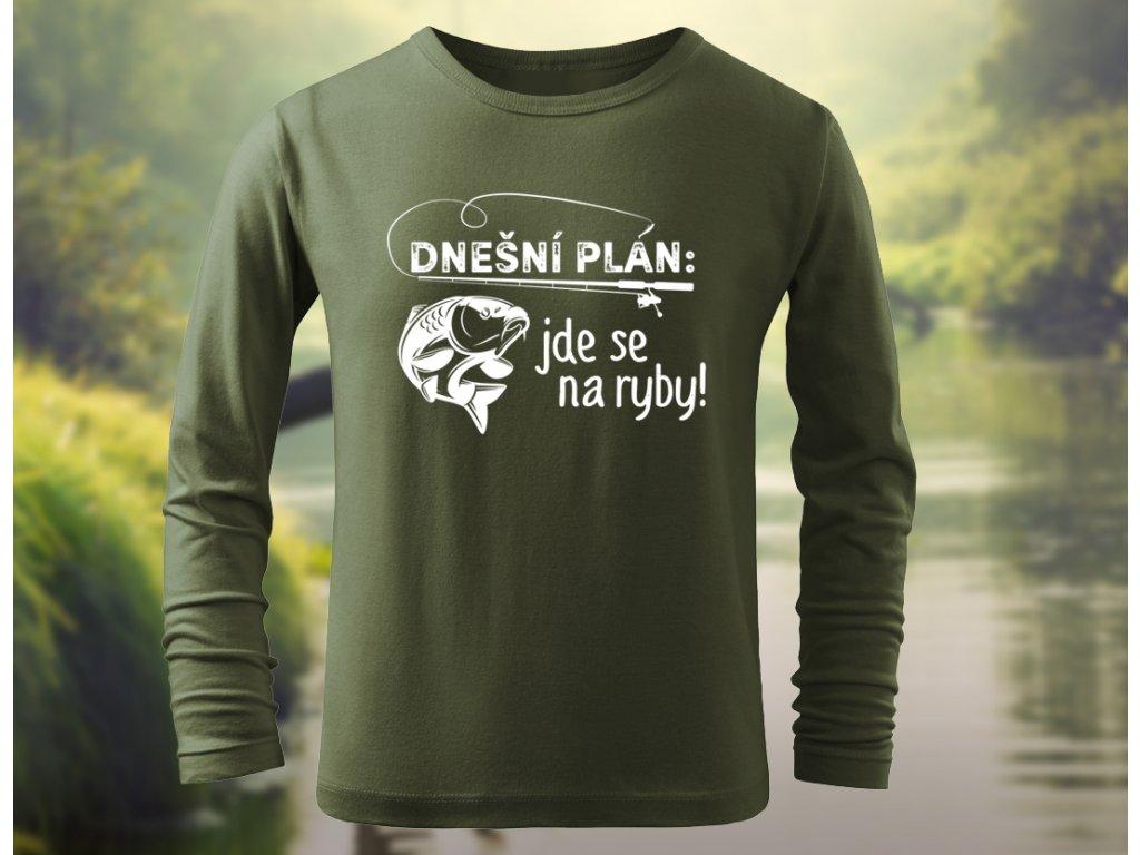 jde se na ryby tricko dlouhy rukav zelene khaki