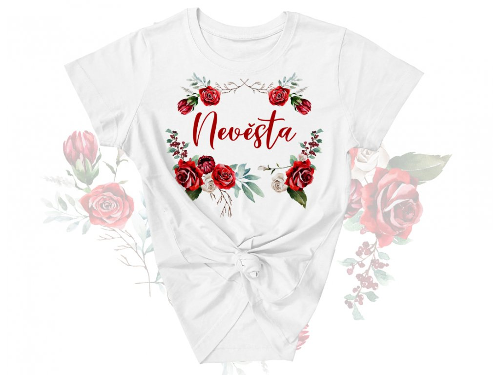 red roses basic colordot nevesta tricko