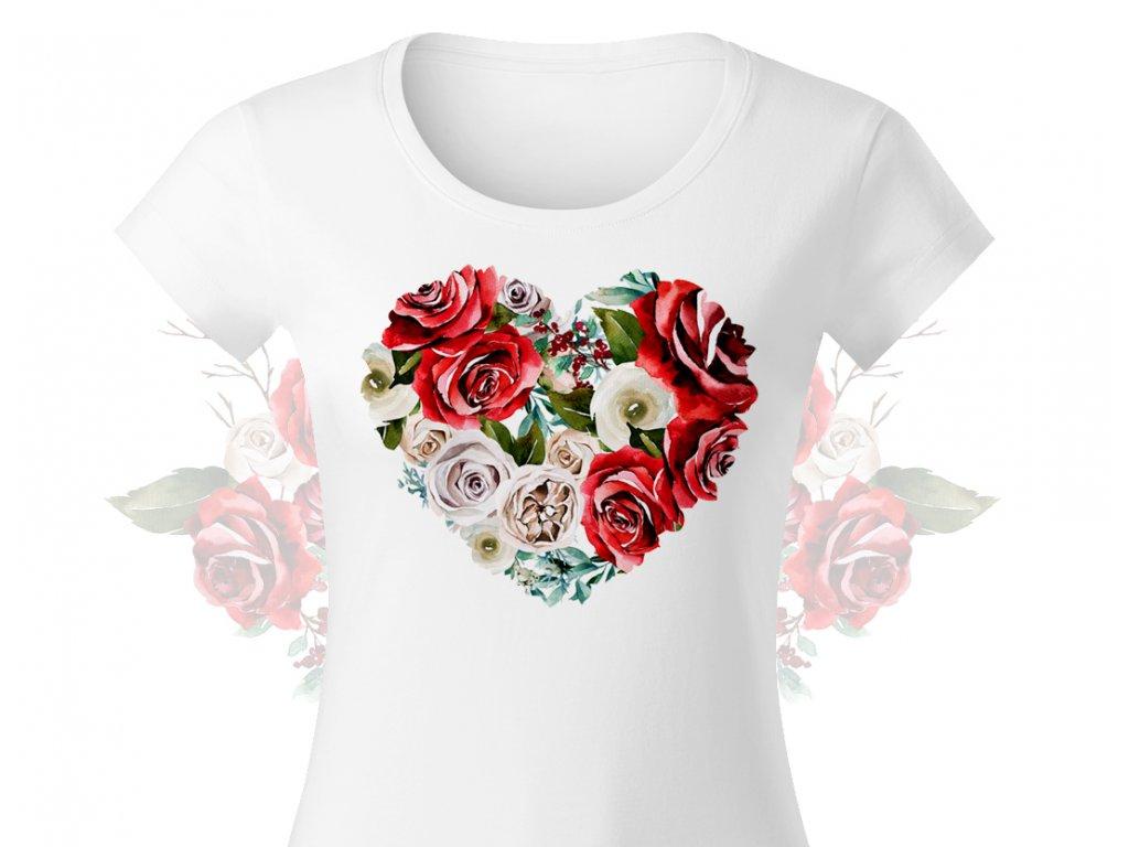 red roses srdicko damske tricko