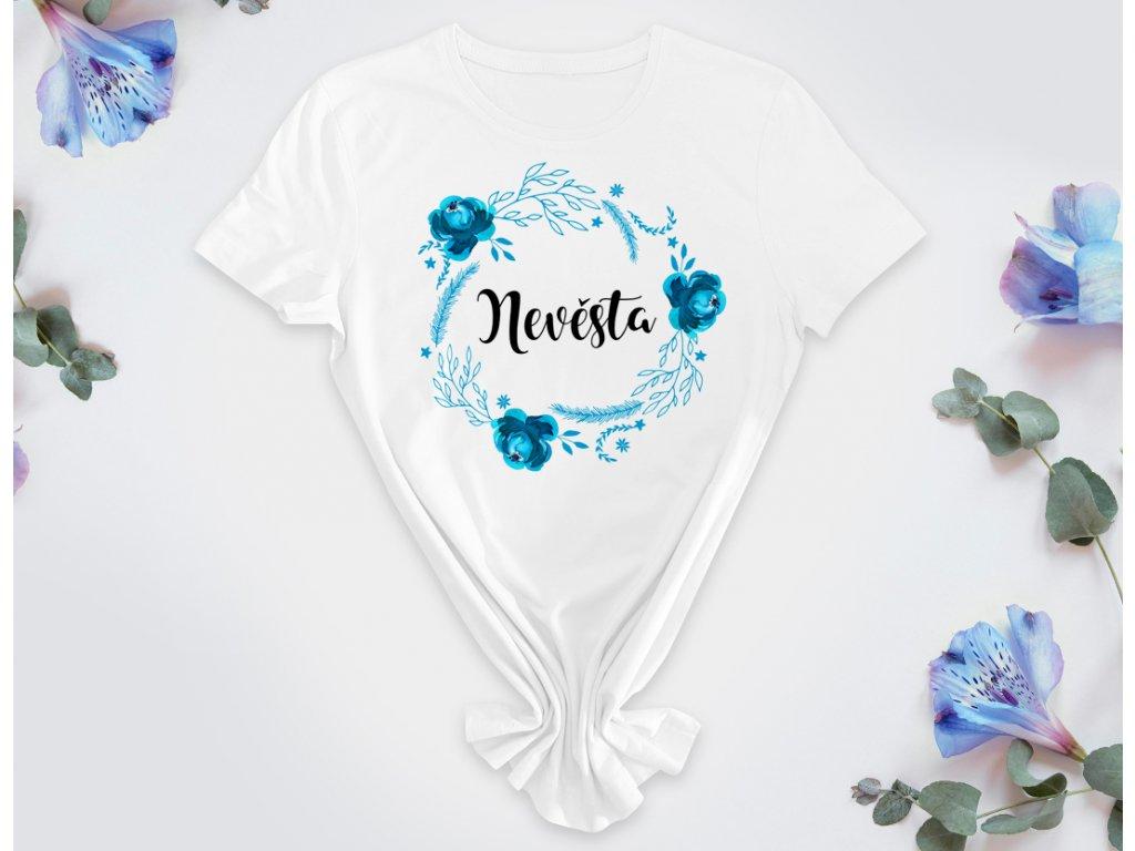 Květinový věneček TYRKYSOVÁ - Nevěsta Bílé tričko (PURE)