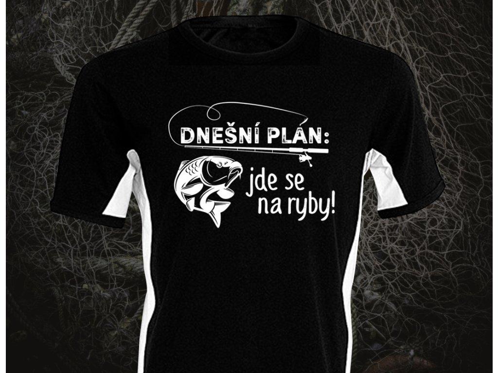 JDE SE NA RYBY BÍLÝ PRUH 3XL - Pánské tričko