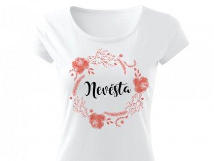 Květinový věneček BROSKVOVÁ - Nevěsta Bílé tričko (PURE)