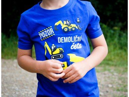 Dětské tričko - Pozor demoliční četa KRÁLOVSKÁ MODRÁ