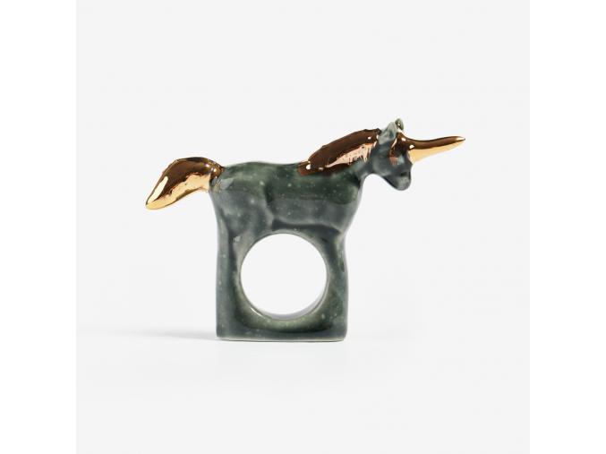 minka Zvířecí prsten porcelán tmavý jednorožec se zlatým zdobením