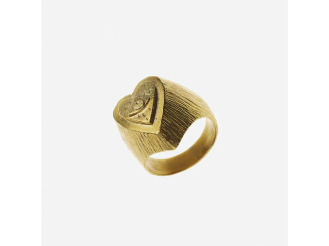 Prsten pečetní pozlacený - srdce oko (Ag 925/1000)