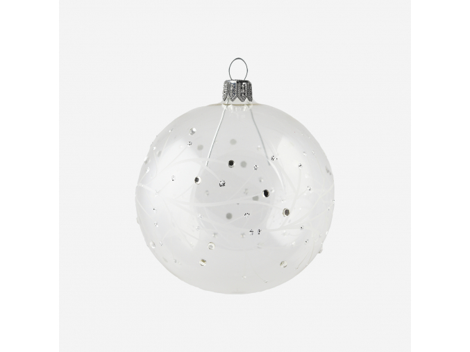 Vánoční baňka s dekorem zasněžených větviček