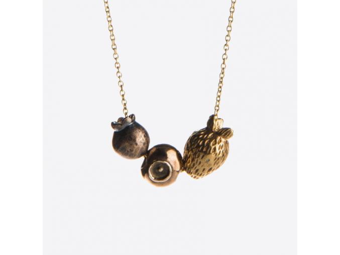 Mosazný zlatý náhrdelník s lesními plody 01
