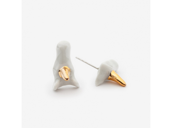 Zvířecí náušnice porcelán - jednorožci se zlatým zdobením