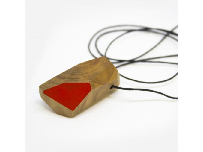 Bajkajlaj dřevěný šperk s 1 - červený polomáčený