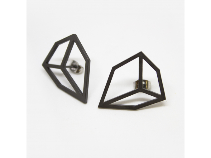 Naušnice L diamant černé protáhlé krychle