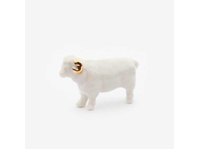 Zvířecí brož porcelán - beránek