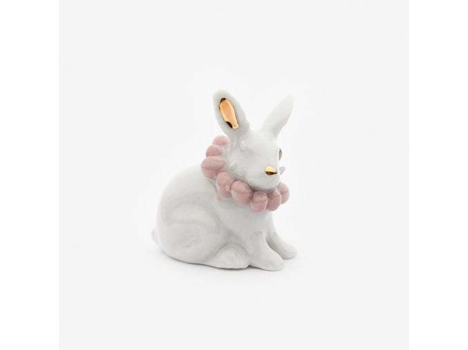 Zvířecí brož porcelán - králíček (růžové korále)