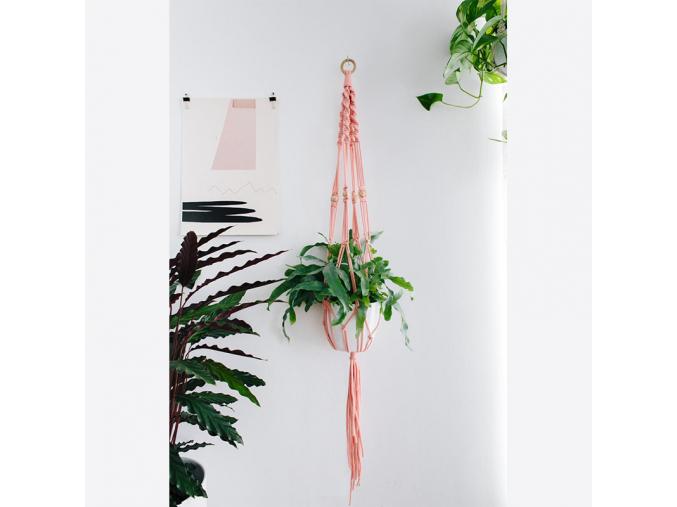 DIY macramé - růžové