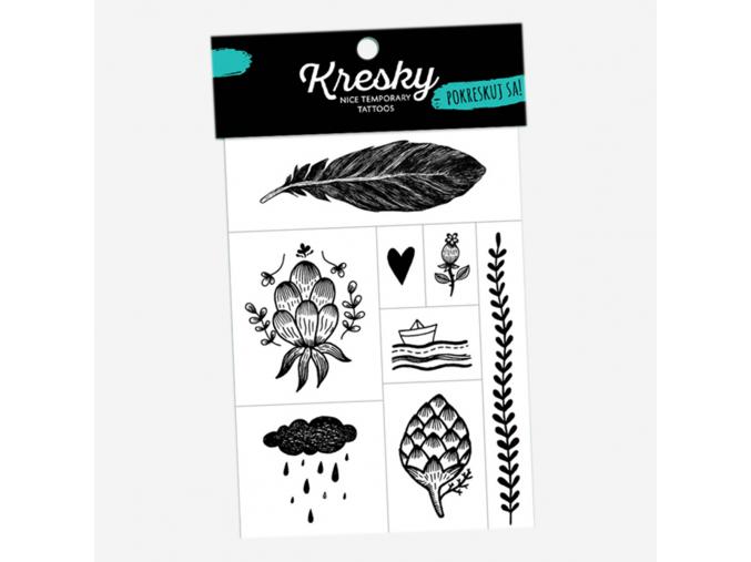 Tetovačky přírodní černobílé